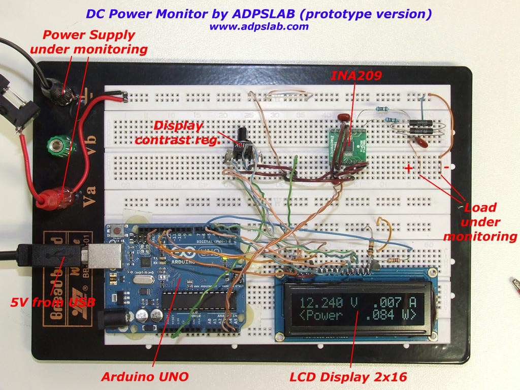 Dc power monitor with ina and arduino